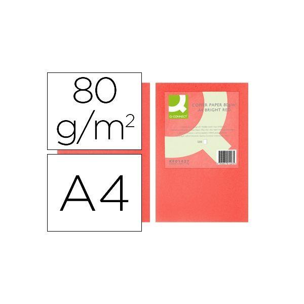 PAPEL Q-CONNECT ROJO A4 500H 80gr
