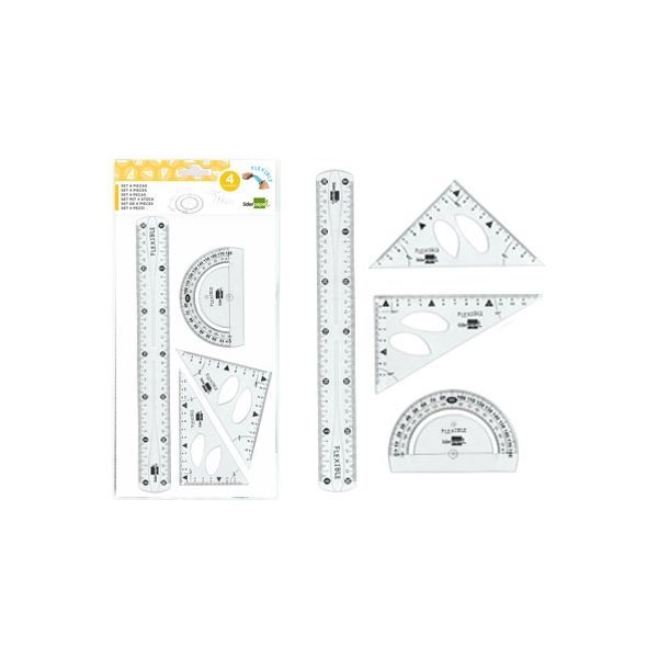 Conjunto material magnetico para pizarras regla,semicirculo,escuadra,cartab/ón y compas